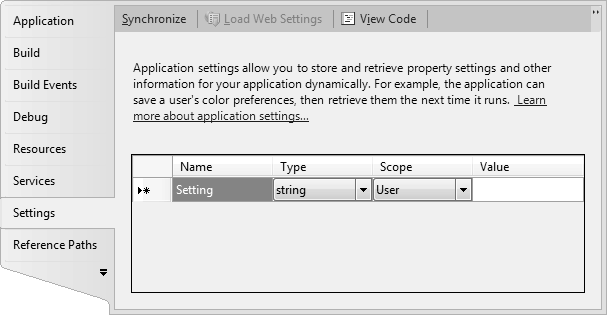 Visual Studio Application Settings