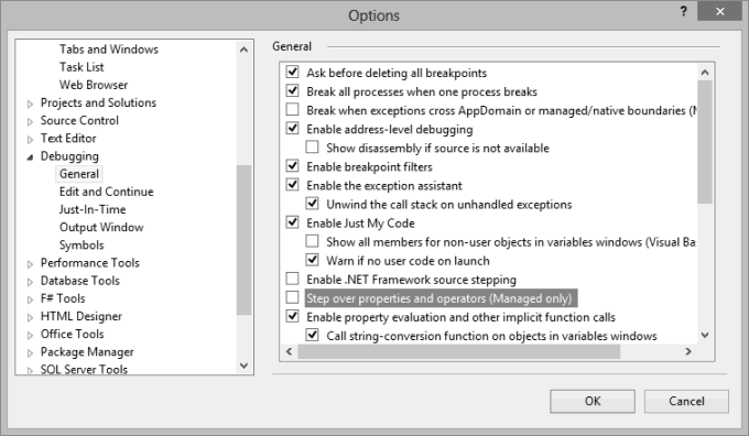 Visual Studio Automatic Property or Operator Step-Over Option