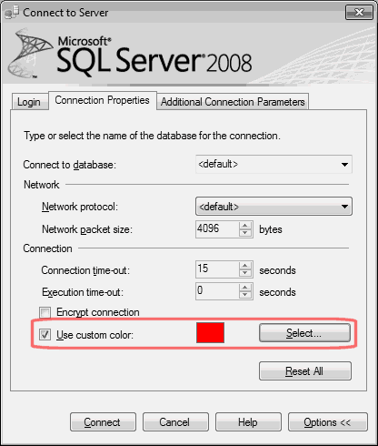 SQL Server Management Studio Custom Color option